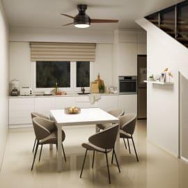 Ventilatore da soffitto Moorea noce scuro, in alluminio diam. 109cm, con telecomando, INSPIRE