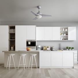 Ventilatore da soffitto Aruba argento, in alluminio diam. 112cm, con telecomando, INSPIRE