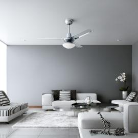 Ventilatore da soffitto Cilaos cromo, in alluminio diam. 142cm, con telecomando, INSPIRE