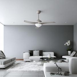 Ventilatore da soffitto Guillin argento, in alluminio diam. 132cm, con telecomando, INSPIRE