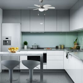 Ventilatore da soffitto Tenerife grigio argento/bianco, in alluminio diam. 76cm, INSPIRE