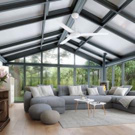 Ventilatore da soffitto Garbin bianco, in acciaio diam. 142cm, con telecomando, INSPIRE