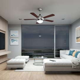 Ventilatore da soffitto Hazel marrone, in acciaio diam. 132cm, con telecomando, INSPIRE
