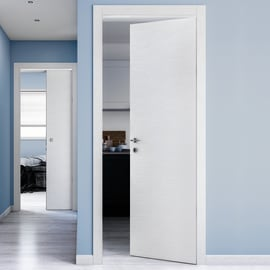 Porta scorrevole a scomparsa Kent frassino bianco L 80 x H 210 cm reversibile