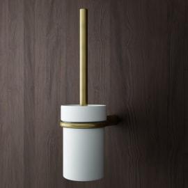 Porta scopino wc a muro Flex in zinco oro