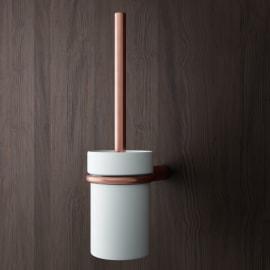 Porta scopino wc a muro Flex in zinco oro rosa