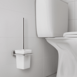 Porta scopino wc a muro Remix in zinco cromo