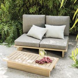Divano con cuscino 2 posti in legno Thai colore acacia