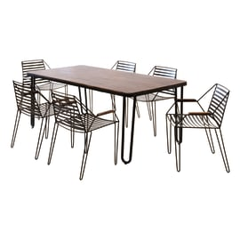 Set tavolo e sedie Petra in acciaio marrone 6 posti