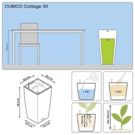 Vaso Cubico Cottage LECHUZA in plastica H 56 cm, L 30 x P 30 cm