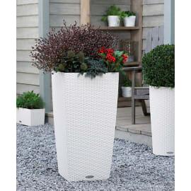 Vaso Cubico Cottage LECHUZA in plastica bianco H 56 , L 30 X P 30 cm