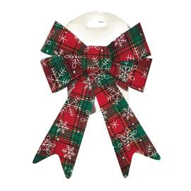Fiocco in tessuto decorato in rosso e verde , L 17 cm