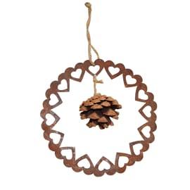 Fuoriporta corona di cuori con pigna in zinco color ruggine Ø 26 cm
