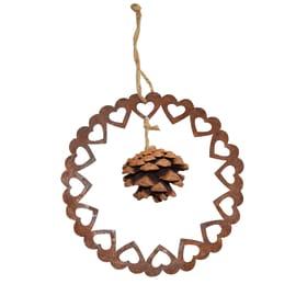 Fuoriporta corona di cuori con pigna in zinco color ruggine Ø 15 cm