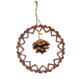 Fuoriporta corona di cuori con pigna in zinco color ruggine Ø 20 cm