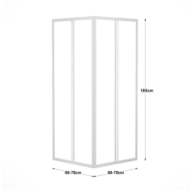 Box doccia quadrato 2 ante fisse + 2 ante scorrevoli 80 x 70 cm, H 185 cm in acrilico, spessore 2 mm trasparente bianco