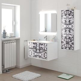 Mobile bagno Elegance bianco e floreale L 75 cm