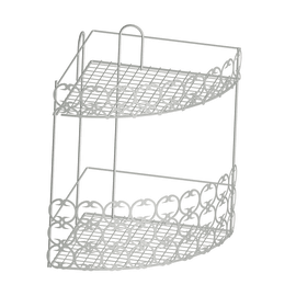 Angolare box doccia e cabina doccia con decoro 2 ripiani bianco