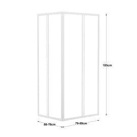 Box doccia rettangolare scorrevole 80 x 90 cm, H 185 cm in vetro temprato, spessore 3 mm vetro acrilico piumato bianco