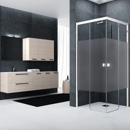 Box doccia rettangolare scorrevole Neo 117 x , H 200 cm in vetro temprato, spessore 6 mm serigrafato bianco