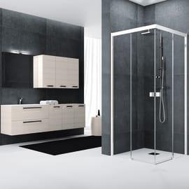 Box doccia rettangolare scorrevole Neo 117 x , H 200 cm in vetro temprato, spessore 6 mm trasparente bianco