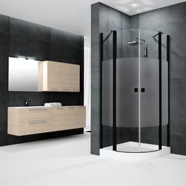 Box doccia semicircolare battente Neo 79.5 x 80 cm, H 201.7 cm in alluminio e vetro, spessore 6 mm serigrafato nero