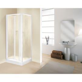 Porta doccia pieghevole Elba 85 cm, H 185 cm in vetro temprato, spessore 3 mm serigrafato e brinato bianco