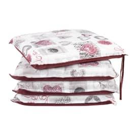 Cuscino per seduta Cuori bordeaux 40x40 cm, 4 pezzi