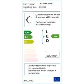 Plafoniera EVER-S ANT LED integrato in policarbonato, nero, 15W 1200LM IP65