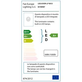 Plafoniera EVER-LP BCO LED integrato in policarbonato, antracite e bianco, 20W 1600LM IP65
