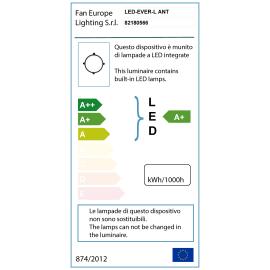 Plafoniera EVER-L ANT LED integrato in policarbonato, nero, 20W 1600LM IP65