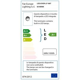 Plafoniera EVER-LP ANT LED integrato in policarbonato, nero, 20W 1600LM IP65