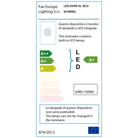 Plafoniera EVER-XL BCO LED integrato in policarbonato, bianco, 30W 2400LM IP65