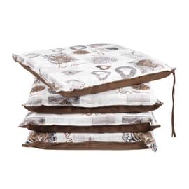 Cuscino per seduta Cuori marrone 40x40 cm, 4 pezzi