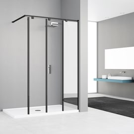 Doccia walk in ELISEO L 120, H 200 cm, vetro 8 mm mirror and transparent nero