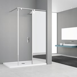 Doccia walk in ELISEO L 100, H 200 cm, vetro 8 mm mirror and transparent nero