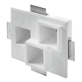 Faretto da incasso rettangolo Heraea in gesso, bianco, 18xGU10 3xMAX40W IP20 TECNICO 3 pezzi