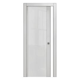 Porta scorrevole a scomparsa Kent frassino bianco L 70 x H 210 cm reversibile