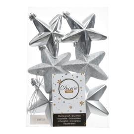 Confezione 6 stelle in plastica argento Ø 7.5 cm