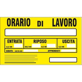 Cartello segnaletico Orario di lavoro pvc 20 x 30 cm