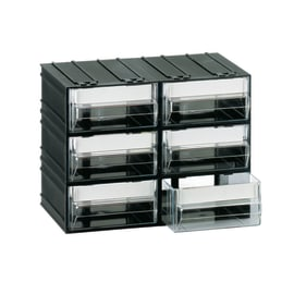 Contenitore per viti con cassetti in plastica nero 6 scomparti