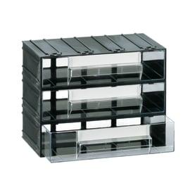 Contenitore per viti con cassetti in plastica nero 3 scomparti