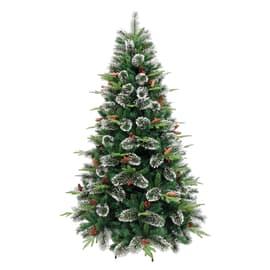 Albero di natale artificiale Cortina verde, punte bianche H 180 cm