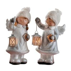 Angioletto con lanterna  in ceramica