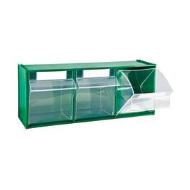 Contenitore per viti con cassetti MAD5.VE basculanti in plastica verde 3 scomparti