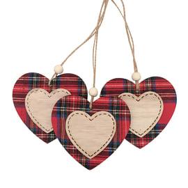 Confezione 3 cuori in legno in legno fantasia scozzese , L 8 cm x P 4 cm