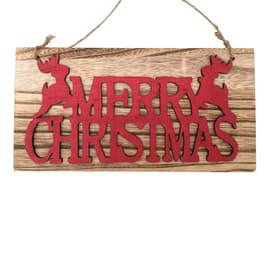 Decorazione Targa in legno con scritta rossa da app. 24x12cm in legno L 24 x H 12 x P 1 cm