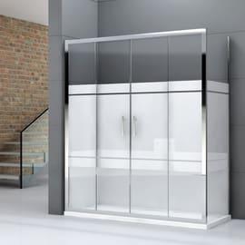 Box doccia rettangolare scorrevole 160 x 70 cm, H 190 cm in vetro temprato, spessore 6 mm serigrafato grigio