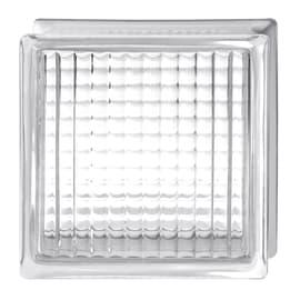 Vetromattone trasparente incrociato H 19 x L 19 x Sp 8 cm