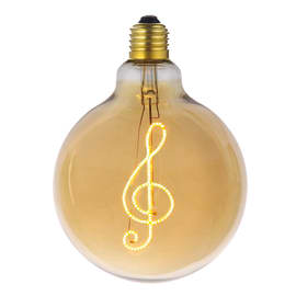 Lampadina decorativa LED Script Music bianco caldo E27 4W = 200LM (equiv 4W) 270°
